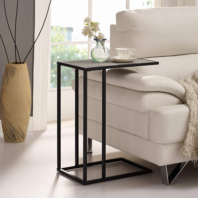 "WE Furniture AZF20SCSTGW Side Table, 20"", Grey Wash/Black"