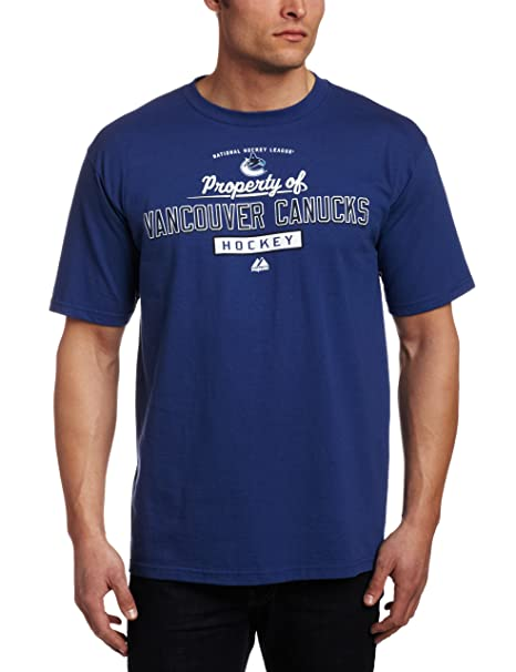 5b9adad91a2 Amazon.com   Majestic NHL Vancouver Canucks Property Of Blue Cobalt Basic T- Shirt