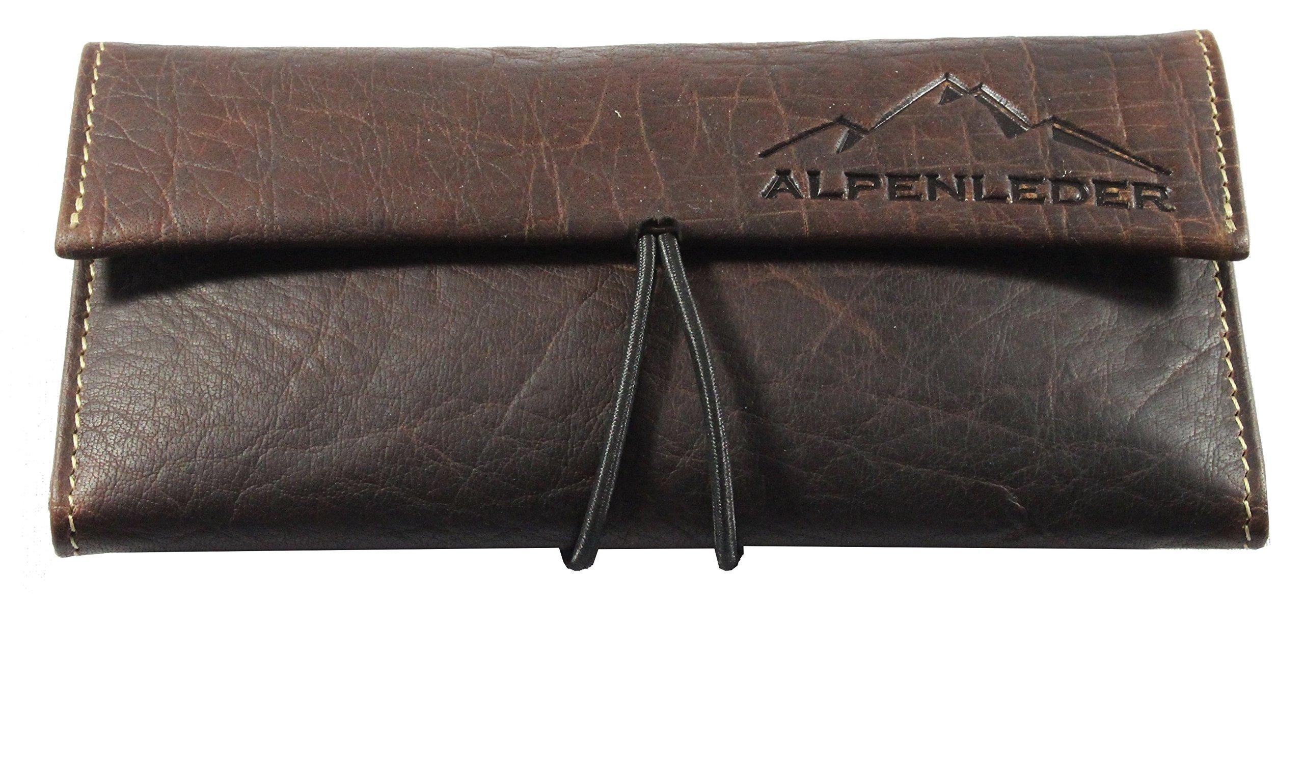 ALPENLEDER Tobacco Pouch HAVANNA - Genuine Buffalo Leather Pipe Bag, Brown
