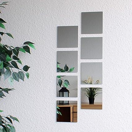 Specchio Quadrato 20.5 x 20.5 cm Mosaico di piastrelle Set da 8 pezzi