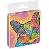 Tree-Free Greetings Set Of 4 Cork-Backed Coasters, 3.75 x 3.75 Inches, Cat-Tastic Themed Dean Russo Cat Art (96188)