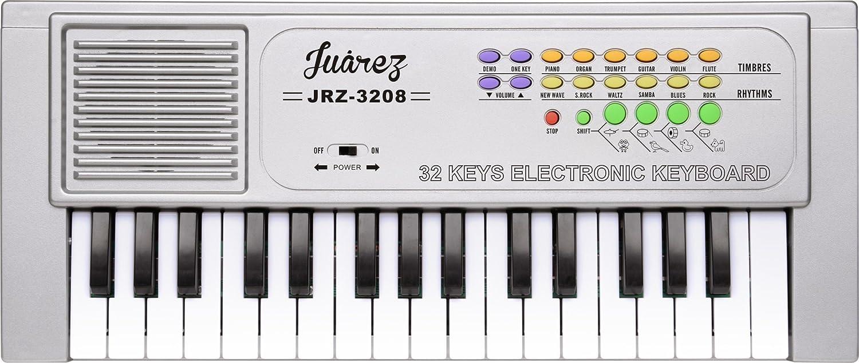 Juarez JRZ3208 Electronic Musical Keyboard Piano - 32 Keys, Silver