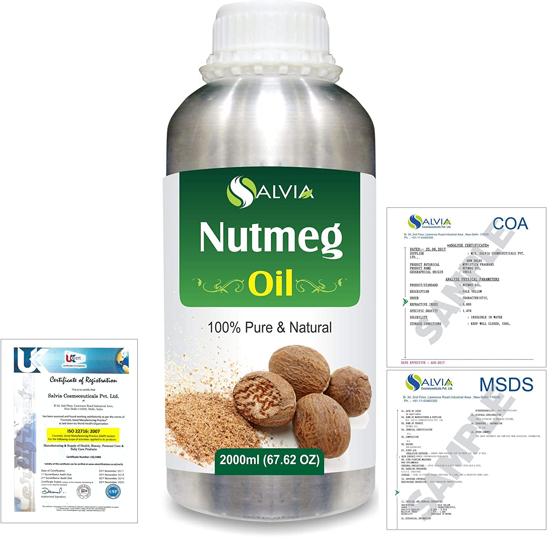 Nutmeg (Myristica fragrans) 100% Natural Pure Essential Oil 2000ml/67 fl.oz.