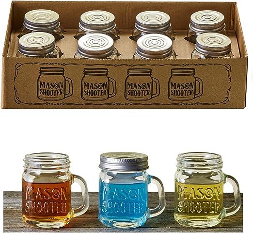 Premium Vials – Set of 8 Mini Mason Jar Shot Glasses with Handles