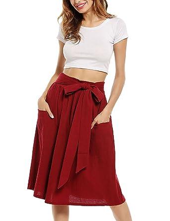 dbacec0b2d90 Zeagoo Women's Cotton A Line Tie Belt Street Pockets High Waist Pleated  Casual Midi Skirts Red