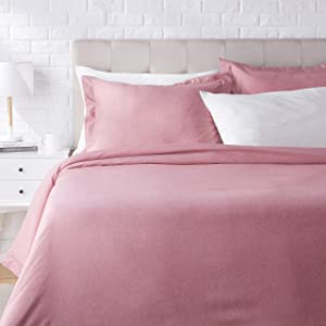AmazonBasics Chambray Duvet Cover Bed Set - King, Sandy Red