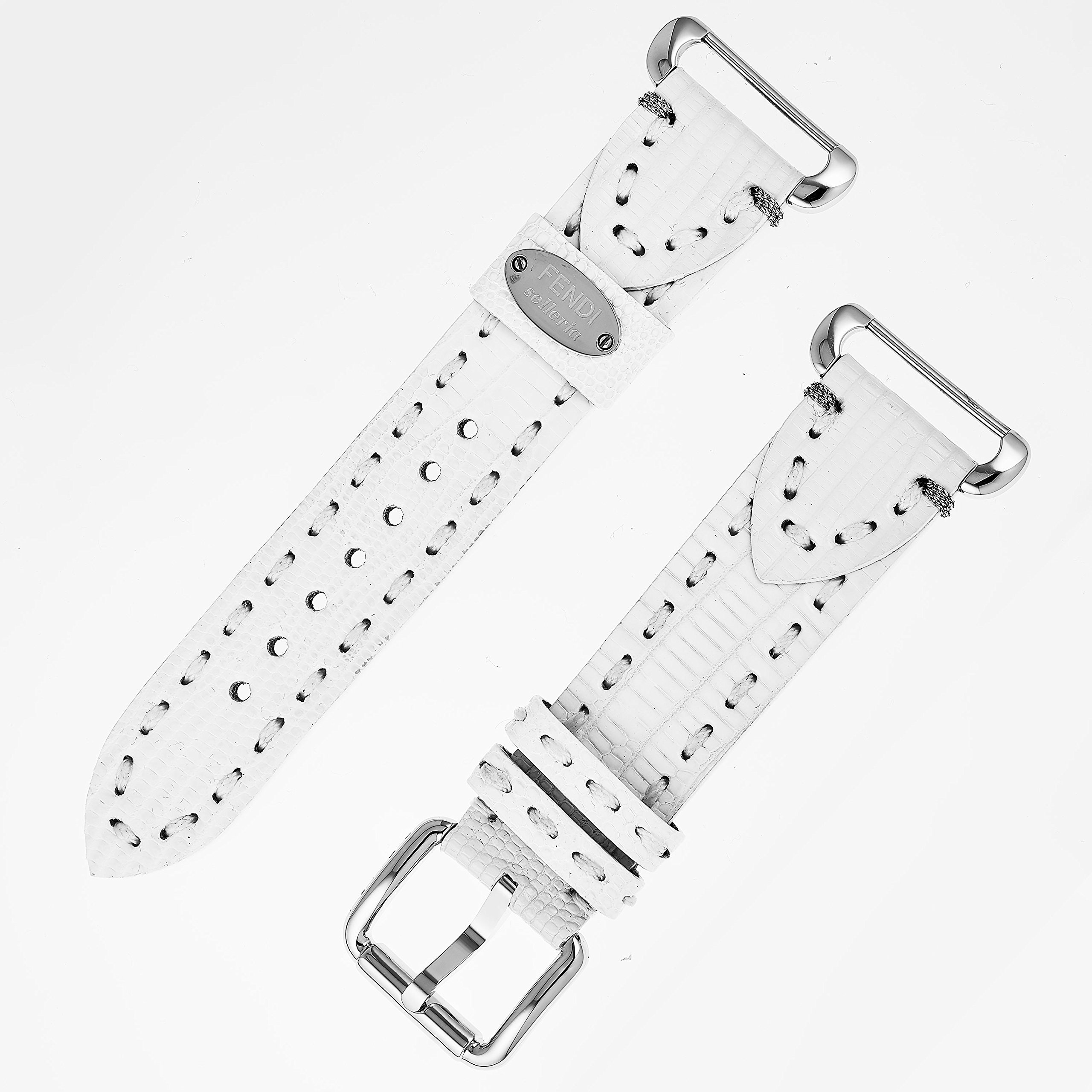 Fendi Selleria Interchangeable Replacement Watch Band - 18mm White Calfskin Leather Strap with Pin Buckle PS18R04S
