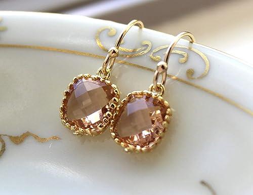 Bridesmaid Jewelry Silver Peach Earrings Champagne Glass Drop Earrings Blush Earrings Blush Bridesmaid Earrings Wedding Jewelry