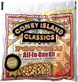 Coney Island Classics Premium Movie Theater Popcorn 8 Ounce Bag All In One Portion Kit With Coconut Oil & Flavored Salt 24 Pack