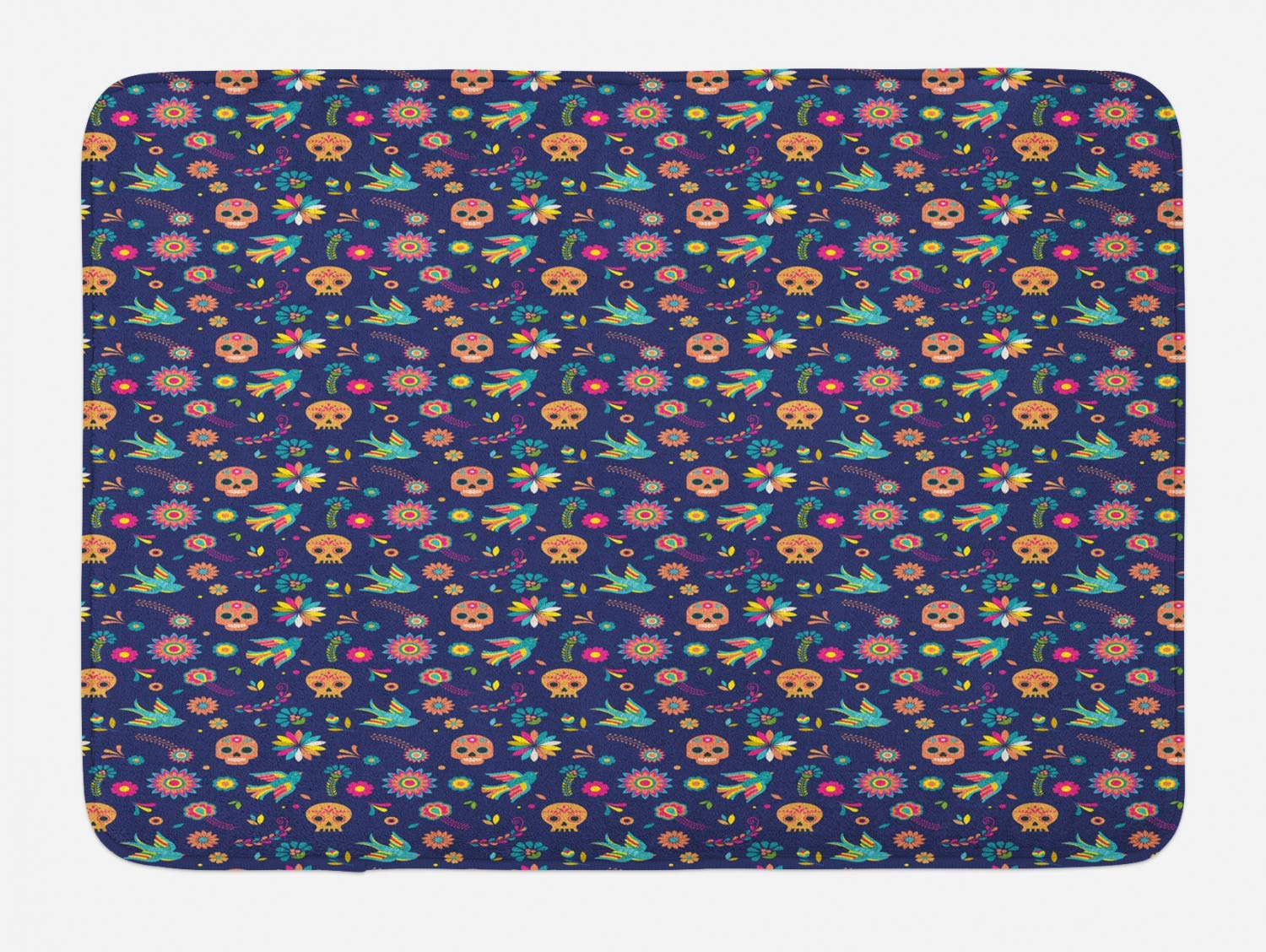 Lohebhuic Repeating Sweet Floral Mexican Pattern Sugar Skulls and Swallows Plush Bathroom Decor Mat with Non Slip Backing,46.8'' W by 70.98'' L