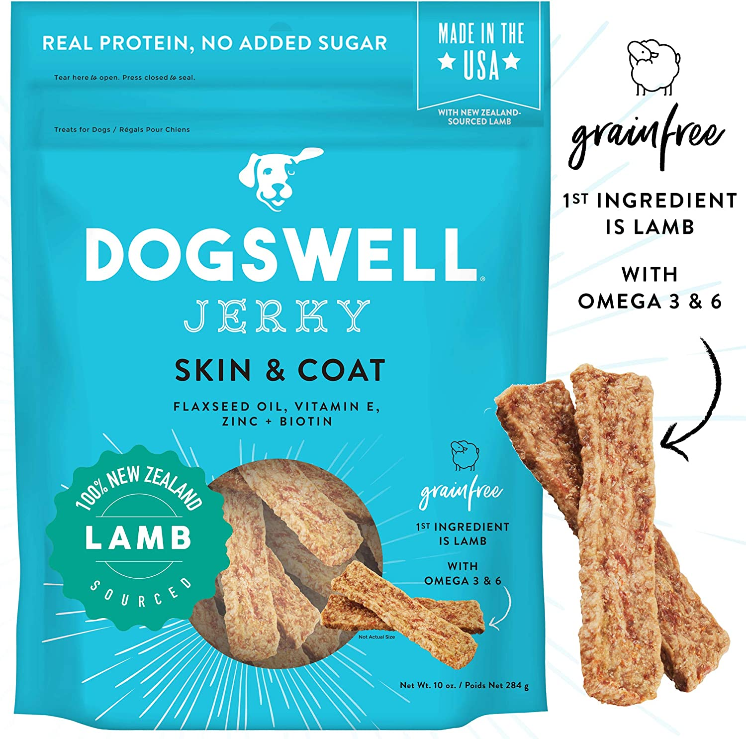 Dogswell 100% Meat Jerky Dog Treats, Made in the USA, with Biotin & Zinc for Healthy Skin & Coat