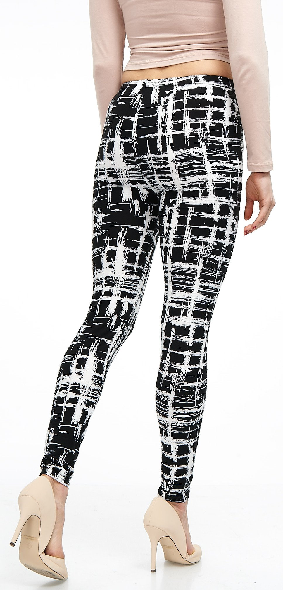 LMB Lush Moda Extra Soft Leggings with Designs- Variety of Prints - 720F Black White Stripes B5 by LMB (Image #7)