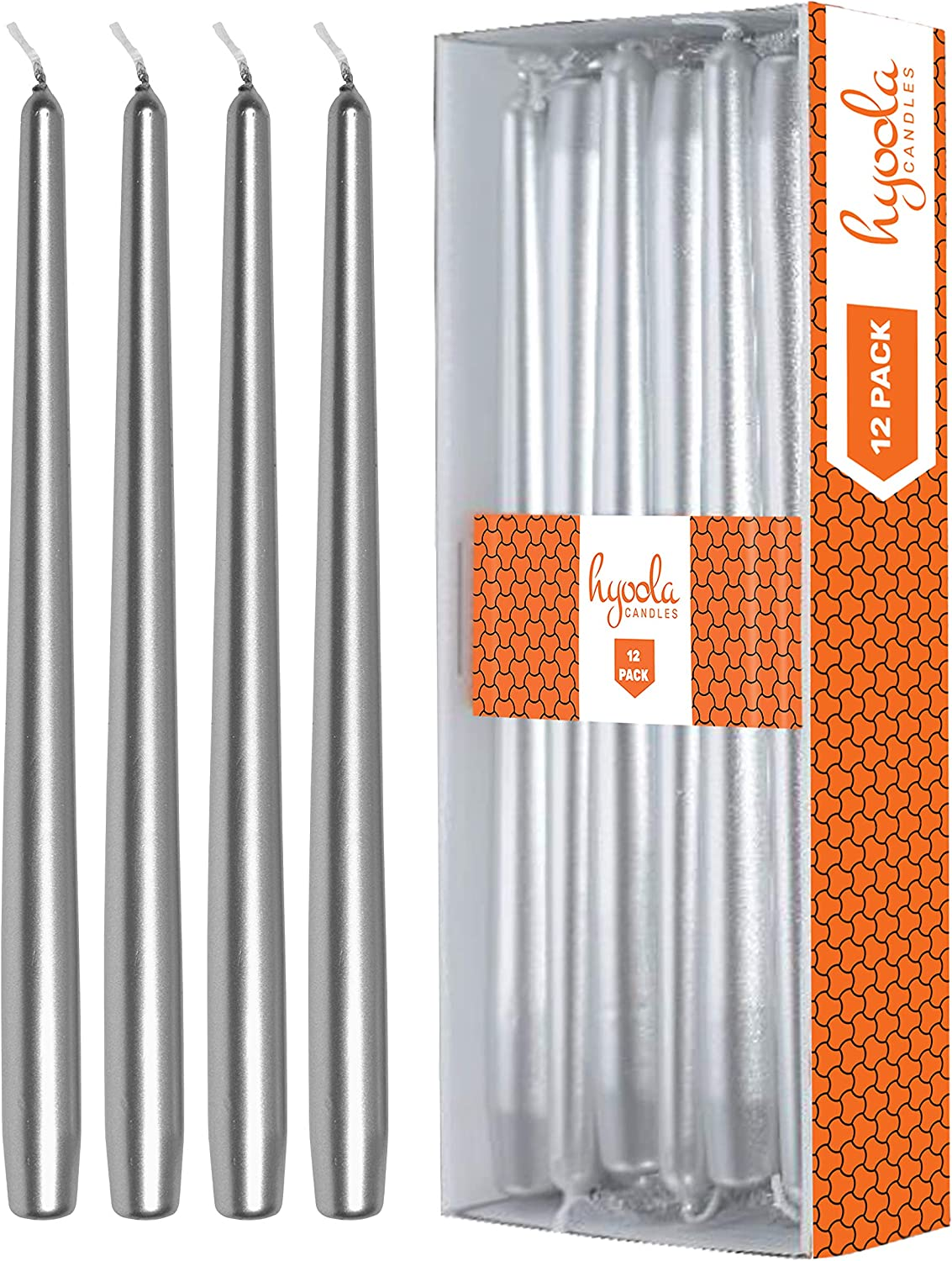 Hyoola 12 Pack Tall Metallic Taper Candles - 12 Inch Silver Metallic, Dripless, Unscented Dinner Candle - Paraffin Wax with Cotton Wicks