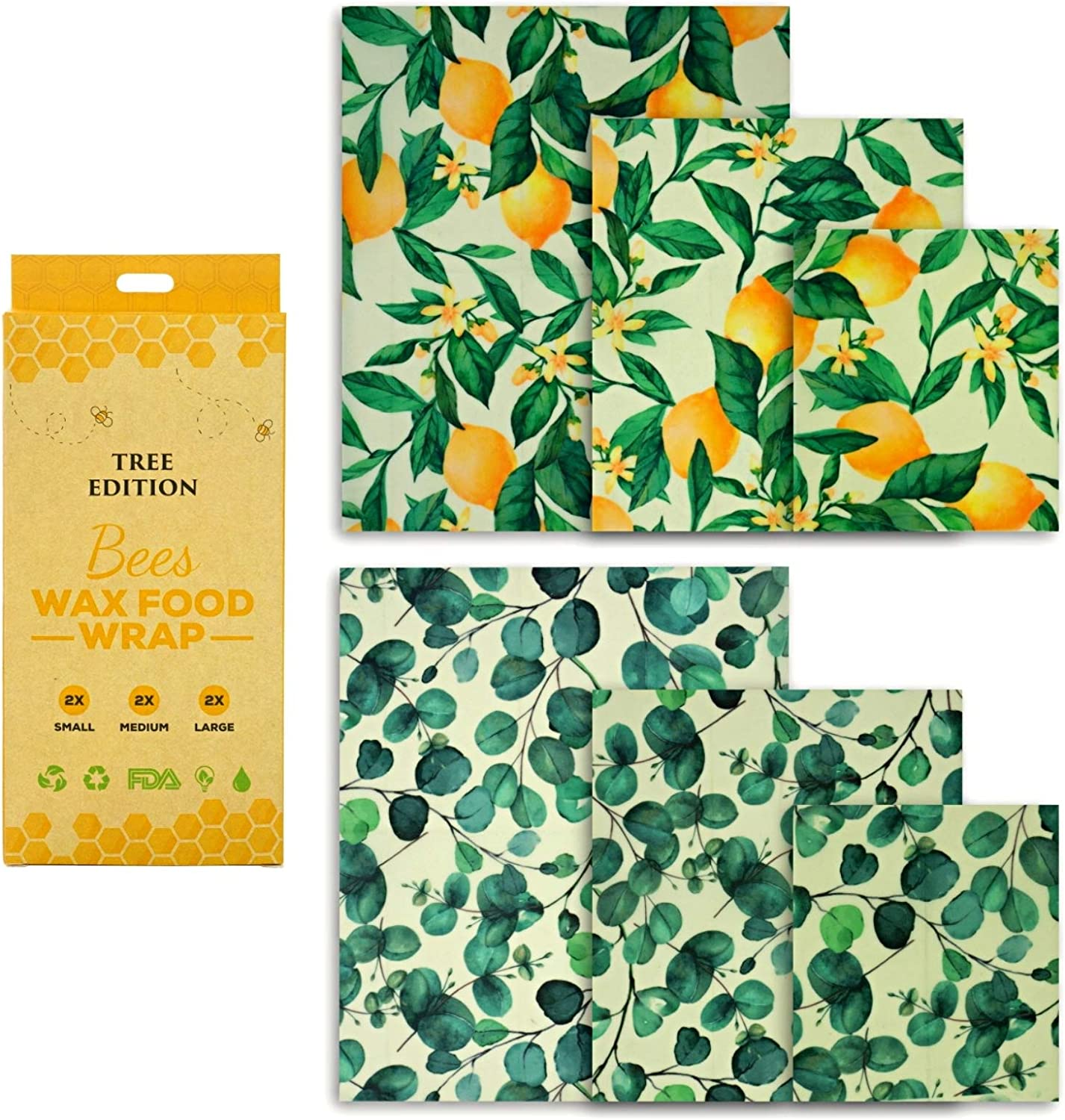 Beeswax Food Wraps, Pack of 6 Eucalyptus and Lemon Tree Printed Beeswax Wraps in 3 Sizes, All-Natural and Reusable Food Wraps, Sustainable, Fresh Design Beeswax Wrappings.