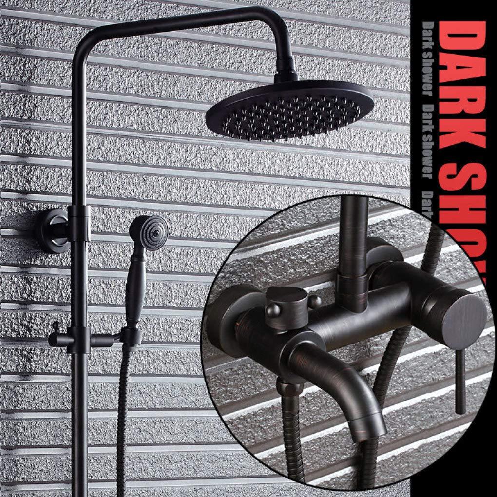 LyMei Badezimmer-Regen-Duschsystem, justierbares Dia-Bar-öl rieb Bronze/blackWall brachte -Rain Dusche und Hand-Halter für Luxuxbadezimmer-Duschesatz an