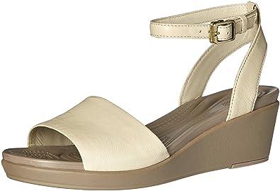 dc02be120e01 crocs Women s Leighann Anklestrap Lthr Wedge Sandal