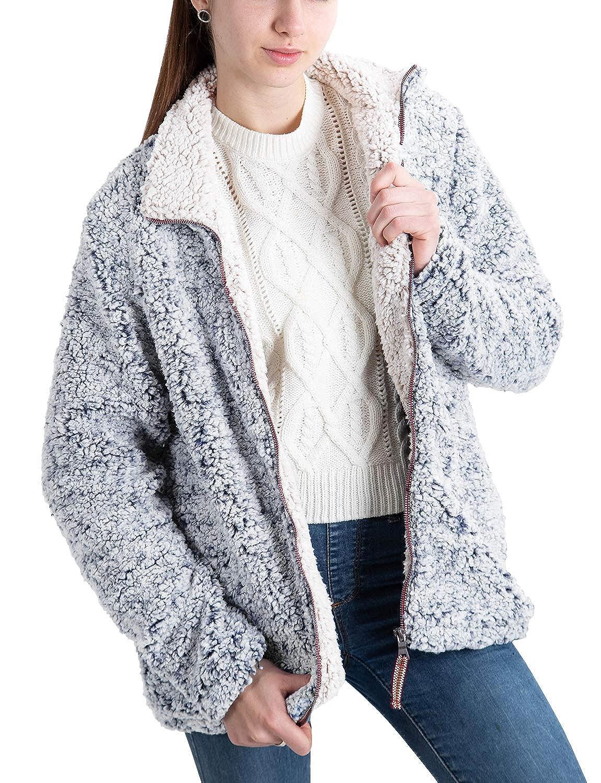 PAAZA Womens Fuzzy Frosty Pile Tipped Shearling Lapel Full-Zip Sherpa Fleece Sweatshirt Pullover Coat Jacket with Pockets
