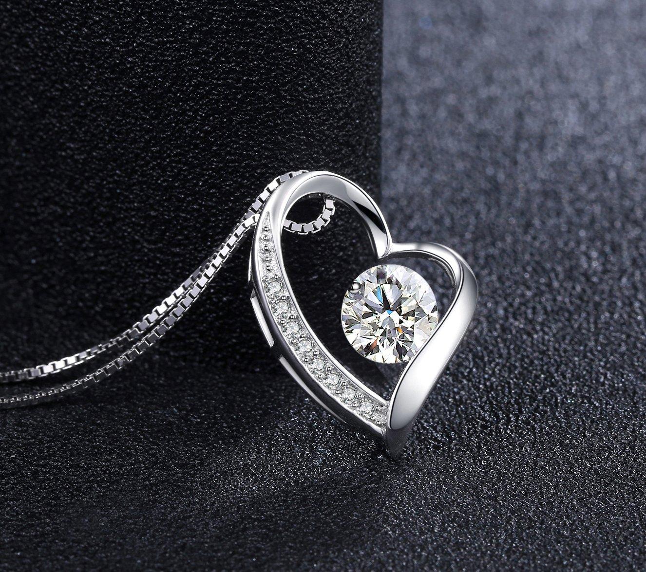 J.Vénus Damen Schmuck, Halskette Silber mit Herz Anhänger 925 Sterling Silber Zirkonia 45cm / Kette, Schmuck mit Etui (ewige Liebe - weiß)