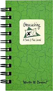 "Journals Unlimited ""Write it Down!"" Series Guided Journal, Write It Down, Geocaching, A Seek & Find Journal, Mini-Size 3""x5.5"", with a Green Hard Cover, Made of Recycled Materials"