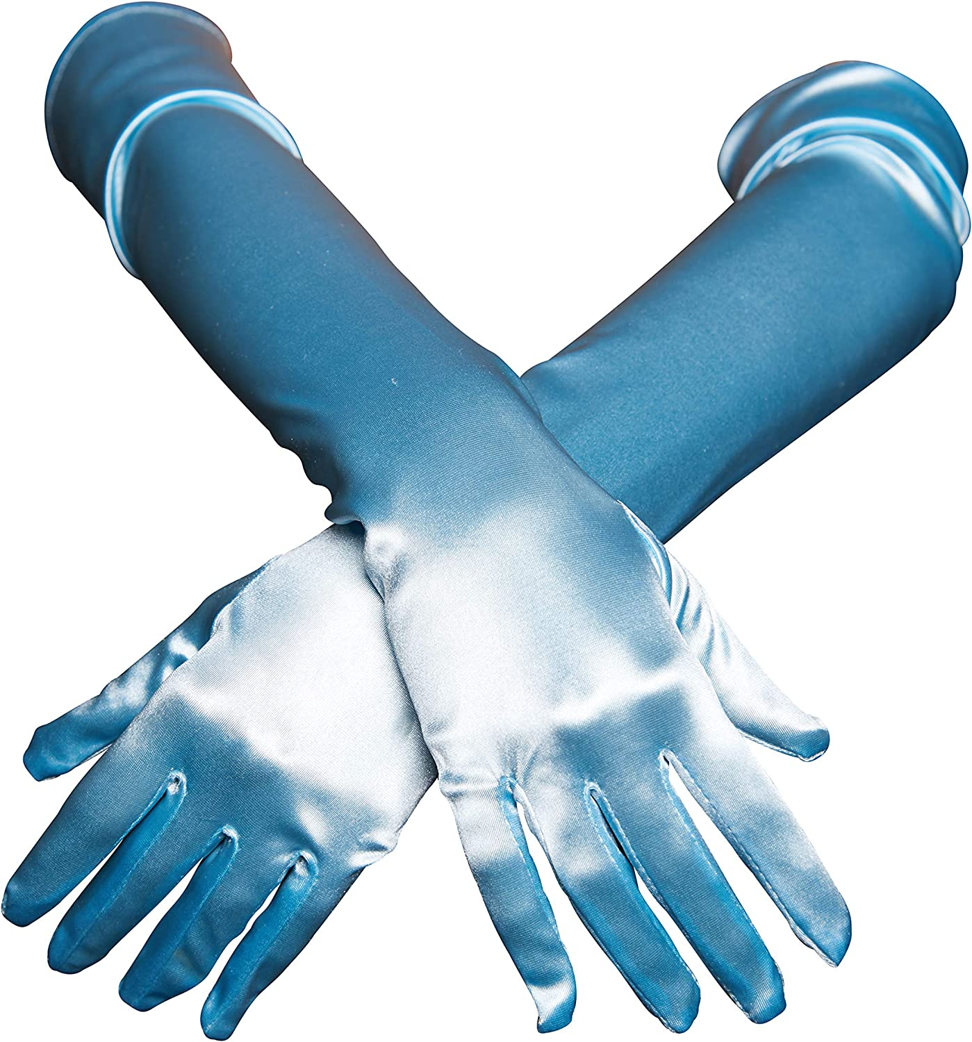 "Women's Satin Evening Gloves - 21"" Long Satin Gloves (Soft Blue)"