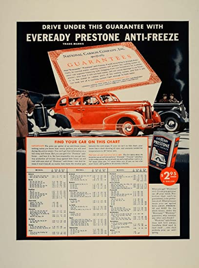 1937 Vintage Ad Eveready Prestone Antifreeze Car Chart Original