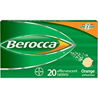 Berocca with Vitamin C 1000mg, Zinc, Biotin, B12 Vitamin Energy Supplement, Orange Flavor Effervescent Tablets, 20 Count