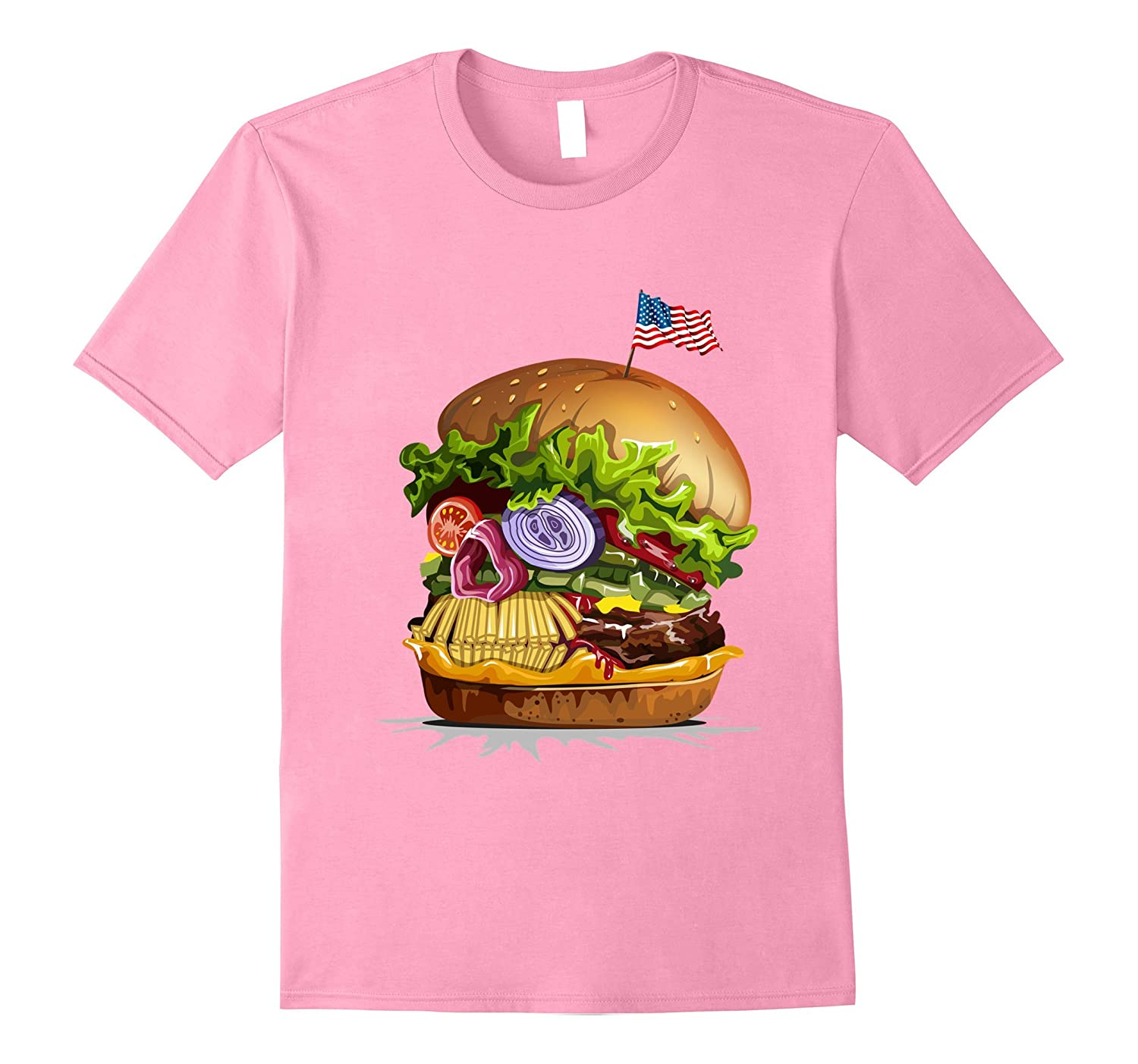 T-Shirt - USA Patriotic Skull Burger Horror Hamburger-TJ