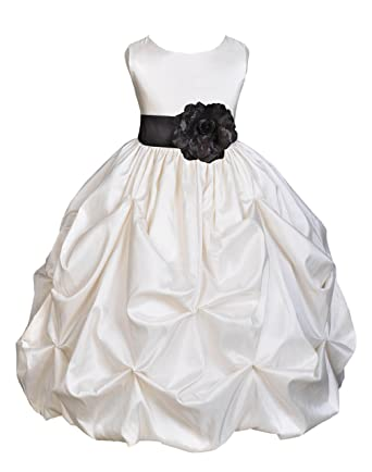 2414eed9f Wedding Pageant Ivory Bubble Pick-up Taffeta Flower Girl Dress Bridesmaid  301s 2