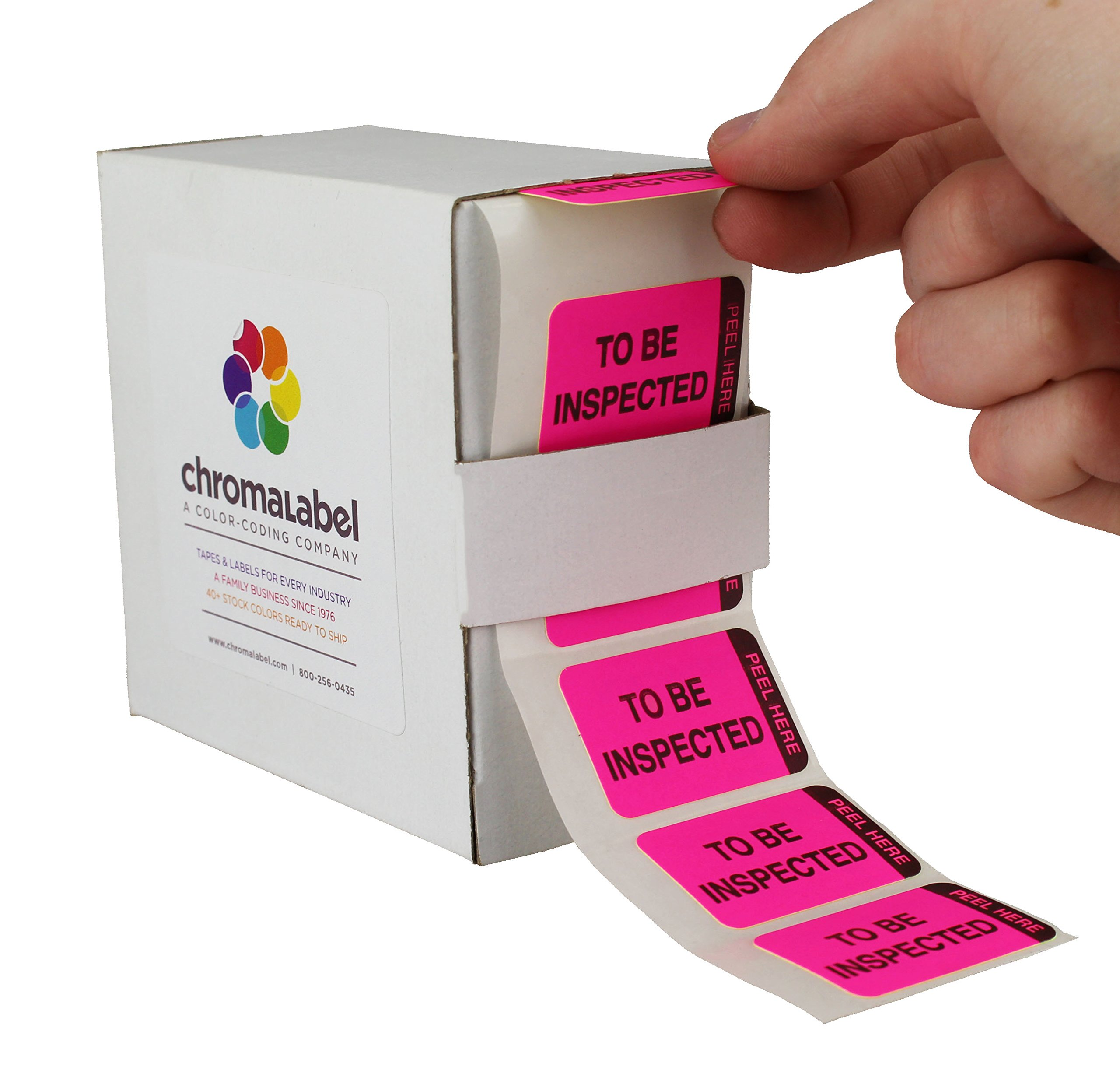 ChromaLabel 1 x 1-1/2 inch Fluorescent Pink/Yellow Double Layer QC Label | 'To Be Inspected/Inspected' Imprint | 250/Dispenser Box by ChromaLabel (Image #2)