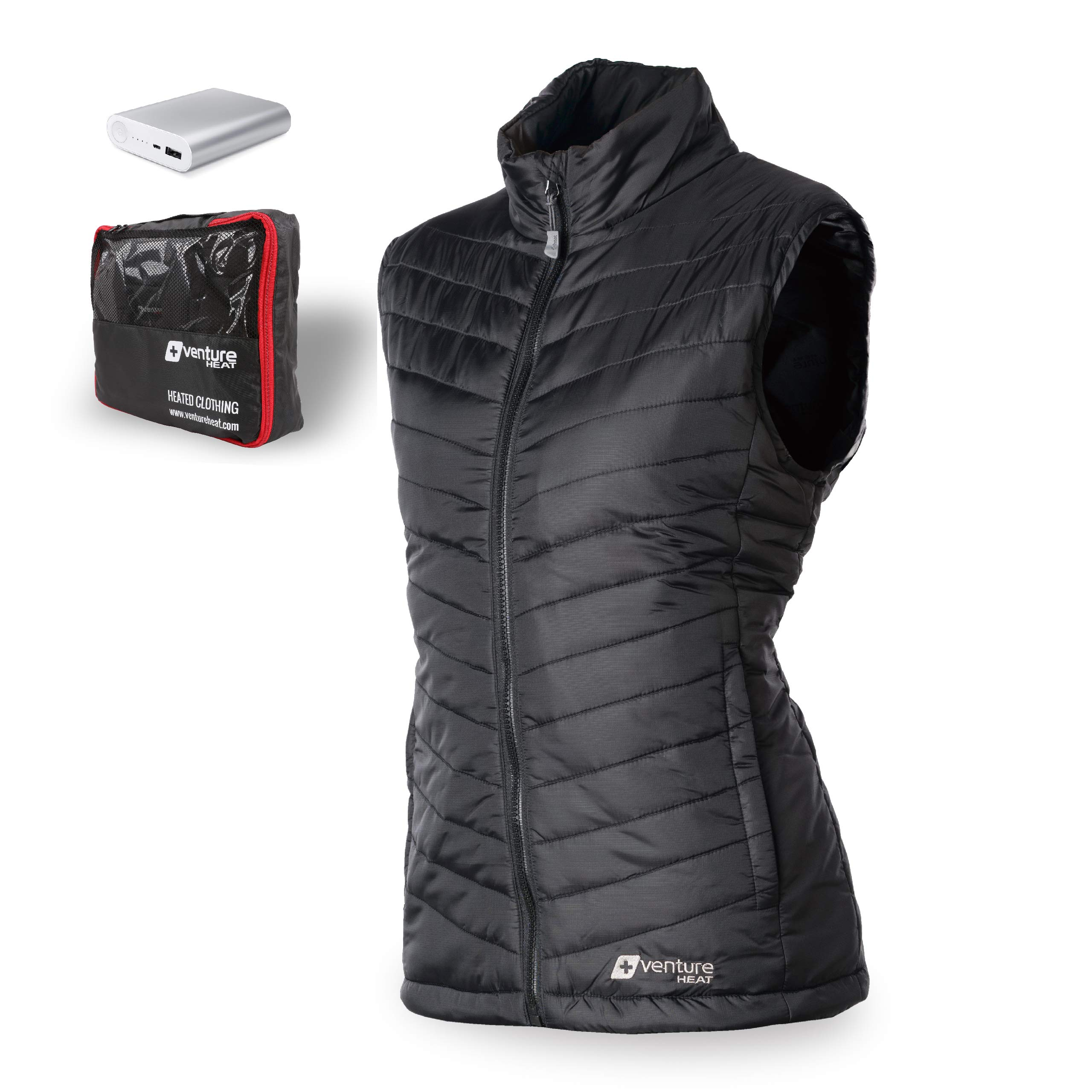 Venture Heat Women's Heated Vest with Battery 12 Hour - The Roam Puffer Heated Vest for Women, USB Powered (L, Black) by Venture Heat