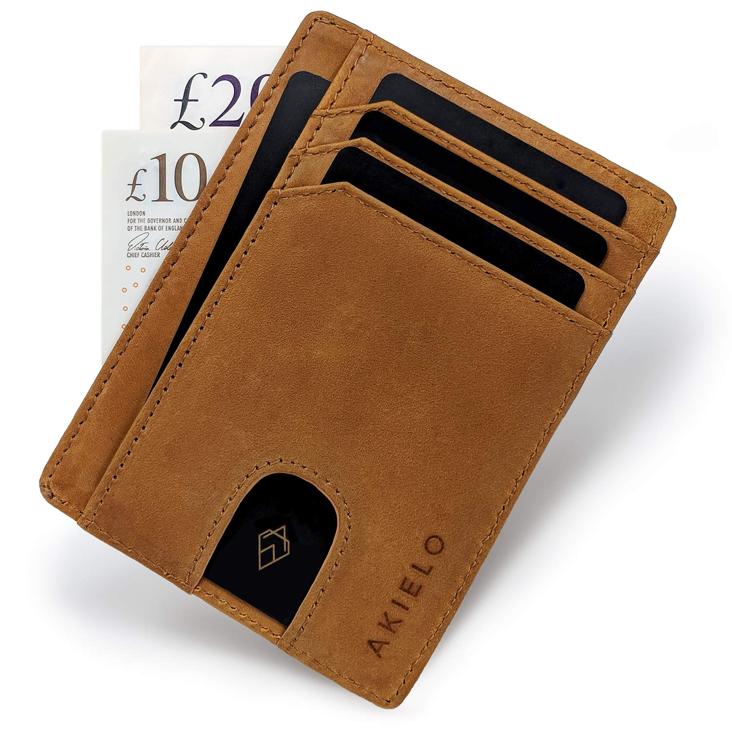 AKIELO Wallet | Minimalist Card Wallet - RFID Blocking Credit Card Holder and Gift Box | Genuine Leather Slim Wallet for Men - Bravo Collection