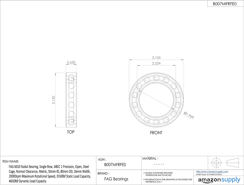 50 mmx80 mmx16 mm Roulement /à 1 rang/ée de billes FAG 6010