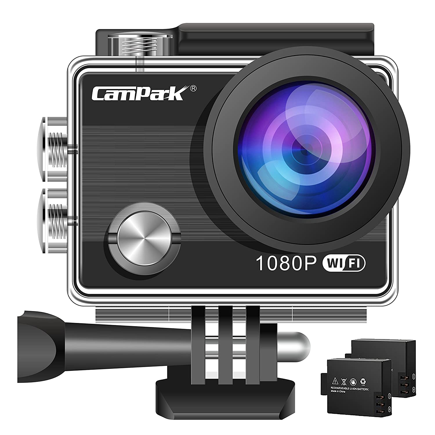 Campark ACT68 Action Camera WiFi 4K 12 MP Full HD 1080P Waterproof Underwater Cam with 170 Wide-Angle Lens and Rechargeable Battery, include 30M Waterproof Case