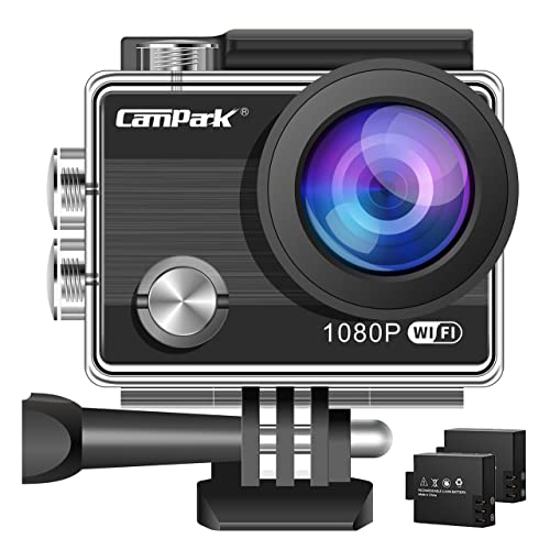 【Upgraded】Action Camera,Campark ACT68 Sport Cam Wifi 1080P Full HD Underwater Camera with 170° Wide-Angle 2 Inch LCD Display with 2 Rechargeable Batteries and Mounting Accessories Kit for Gopro…