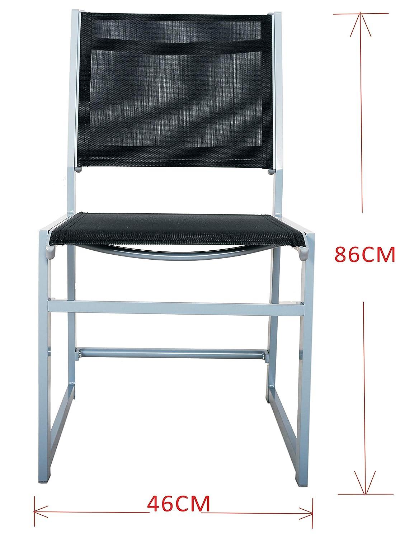 Chicreat - Juego de 4 sillones de aluminio tapizados para jardín (negro y plateado)