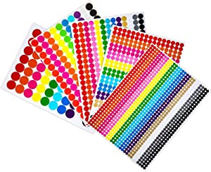 Boao Colored Round Dot Stickers Circle Dot Labels, Neon Colors Labels (2374 Pieces, Assorted Sizes)