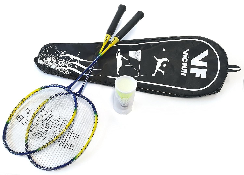 VICFUN Badminton-Set Federball Set Marine Deluxe Edition (2 Schläger + Tragetasche) Victor