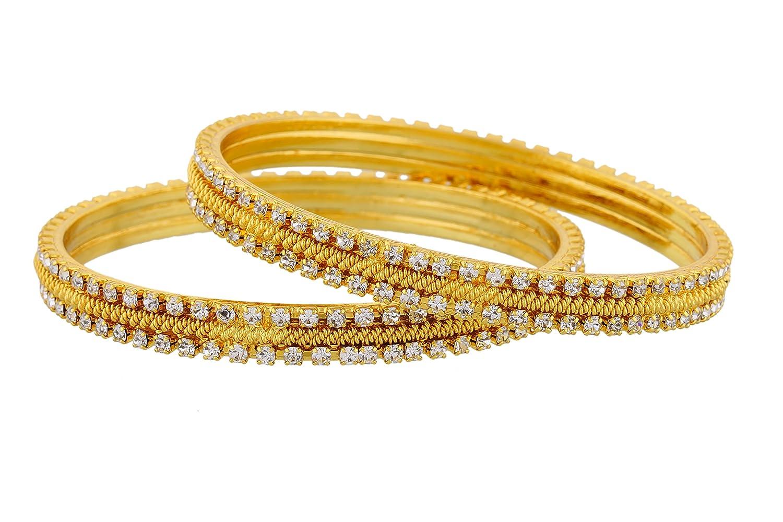 Buy Jewbang Sparkling Gold Bangles Size 2-4 Bangles For Women ...