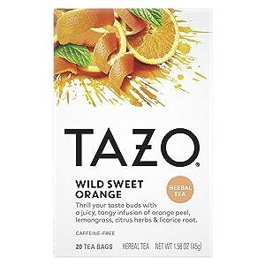 Tazo Herbal Tea Tea Bags For a Citrus Beverage Wild Sweet Orange Caffeine-Free 20 Tea Bags, Pack of 6