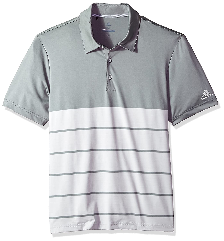 Adidas Golfメンズの究極のヘザーストライプポロ B074KJWD3N  Grey Three/Grey One Heather Medium