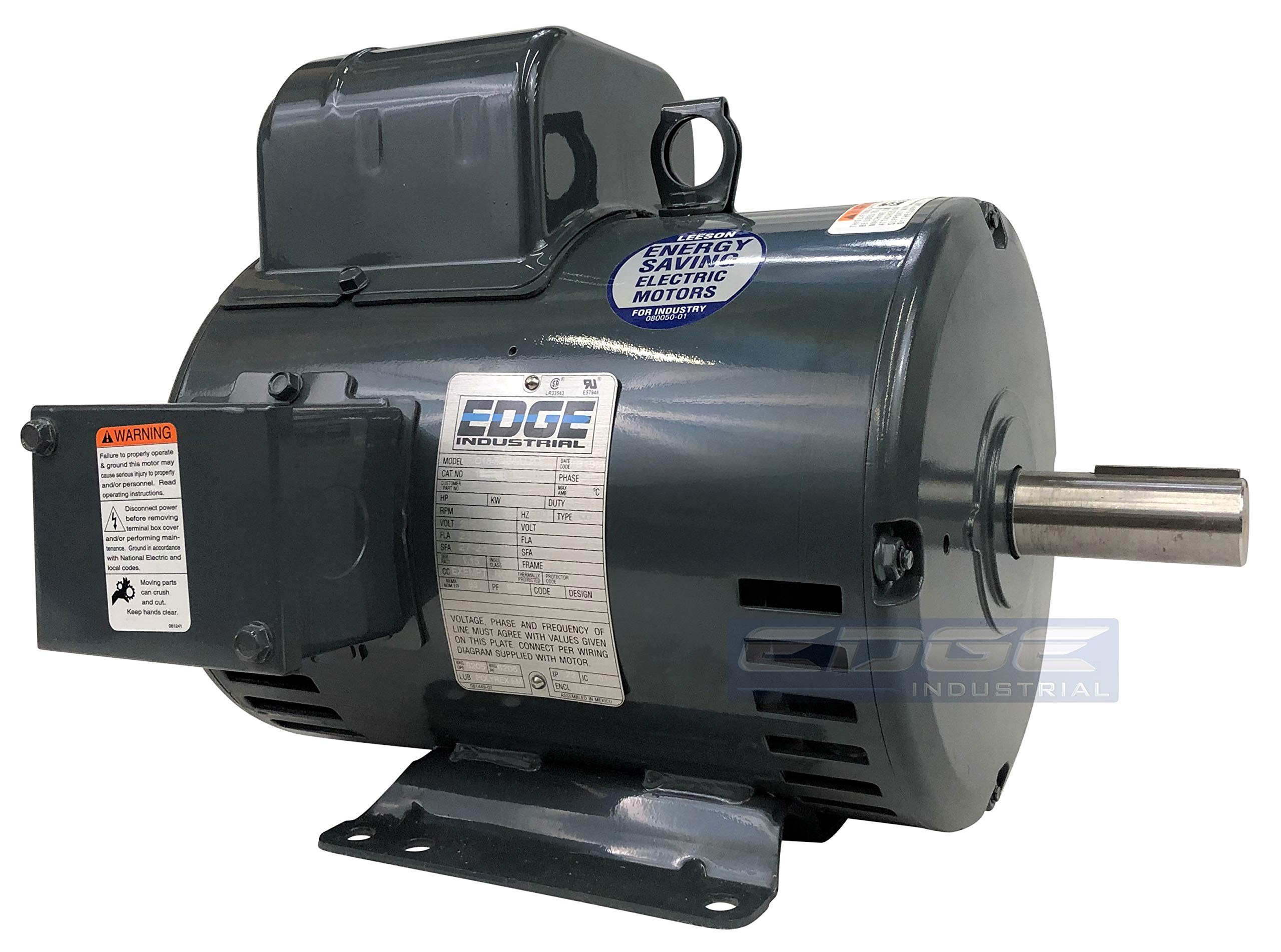 SUPER HEAVY DUTY LEESON ELECTRIC 5HP 184T COMPRESSOR DUTY MOTOR, 1725 RPM, 230VAC, 1 1/8'' SHAFT DIAMETER, REVERSIBLE ROTATION,
