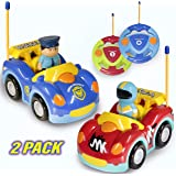 Haktoys Pack of 2 Cartoon Remote Control Race Car and Police Car | Unique Beginner Radio Control Toys for Toddlers and Kids | One Frequency Per Car Allowing Two Players to Play Together