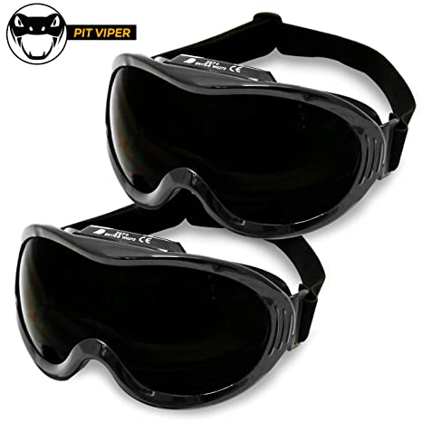 KwikSafety (Charlotte, NC) PIT VIPER (2 PACK) ANSI Industrial (ANTI-FOG,  ANTI-SCRATCH, Snug FIT) Welding Goggles Shade 5 | Ventilation Infrared