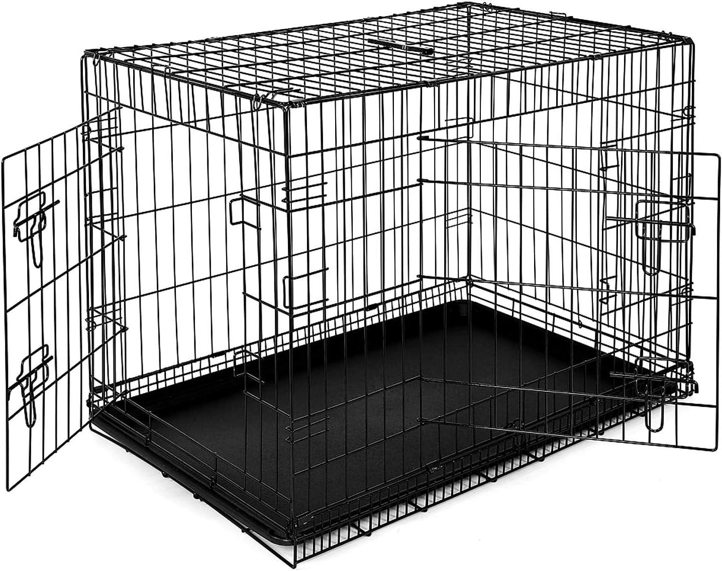 Dibea DC00493, Jaula Plegable de Metal para Perro, Gato y Mascota (2 Puertas), 91 x 58 x 64 cm