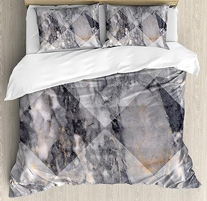 Amazoncom Ambesonne Marble Duvet Cover Set King Size Geometric