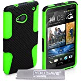 Case for Htc One Black/Green combo silicone gel Hard Cover Case