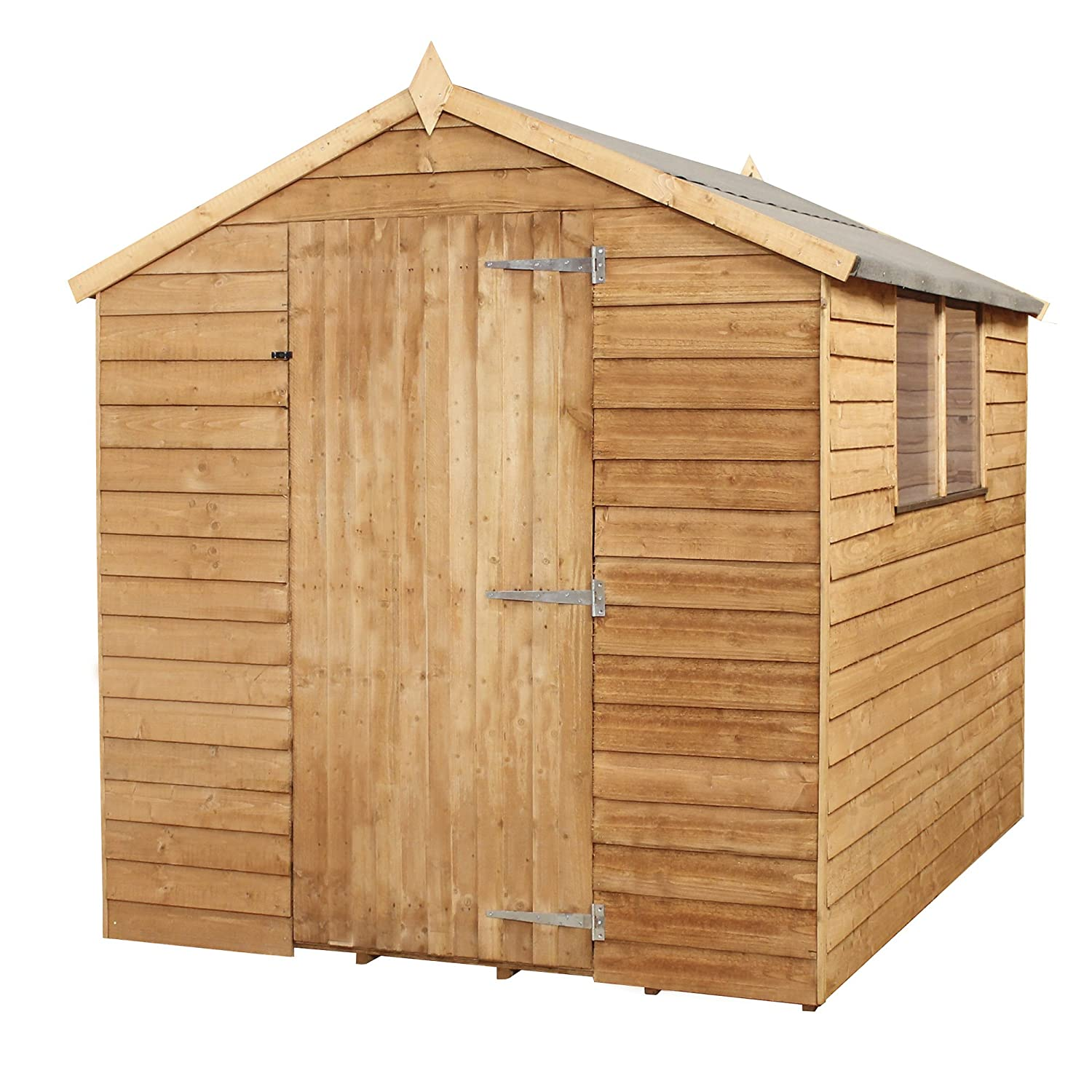 Waltons Est 1878 8x6 Wooden Garden Storage Shed Overlap Construction Dip Treated With 10 Year Guarantee With Windows Single Door Apex Roof Roof