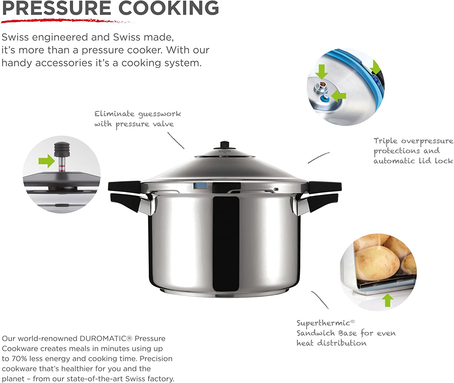 Kuhn Rikon DUROMATIC Pressure Cooker 8.75 5.3 qt best seller family of 4 two handles for stability