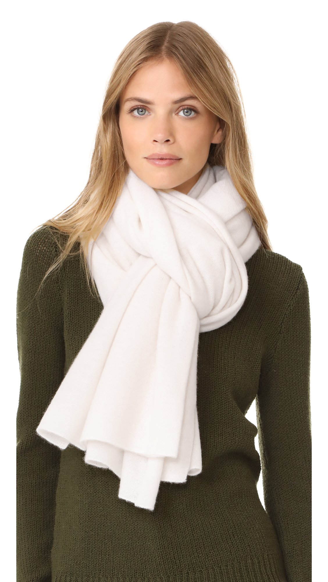White + Warren Women's Cashmere Travel Wrap Scarf, White, One Size