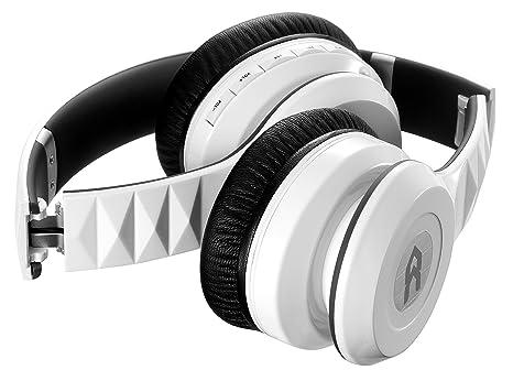 Avenzo AV601BC - Auriculares de diadema cerrados con Bluetooth y cancelación de ruido, color blanco